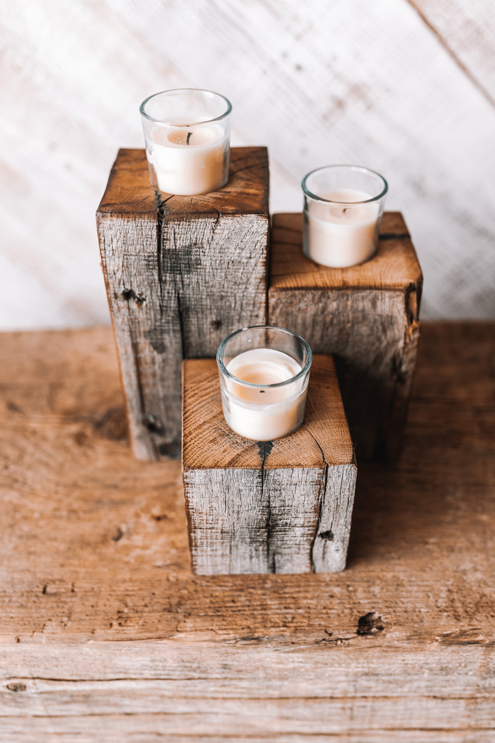 Reclaimed Wooden Candle Holders