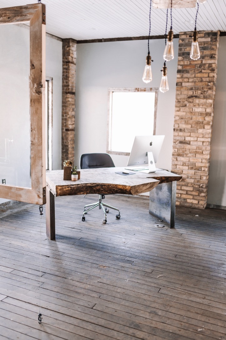 Reclaimed Wood Desk and Office Setup